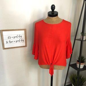 Red-Orange Newbury Kustom Tie-Front Blouse